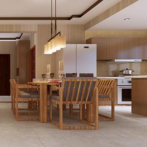开放式厨房和餐厅一体,提高空间使用率