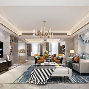 领航城-现代风格-客厅装修效果图