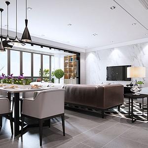客厅大理石墙面给人视觉的通透的享受