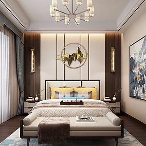 海月花园-新中式风格-卧室装修效果图