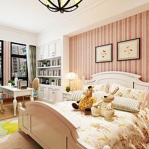 儿童房整体墙面以粉色的条文壁纸
