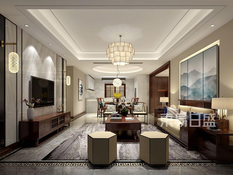 时代豪庭210㎡平层新中式风格