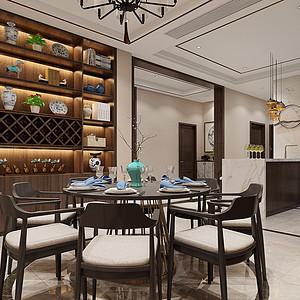 海月花园-新中式风格-餐厅装修效果图