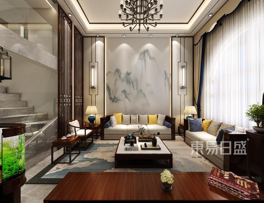 160平米东山帝景跃层中式风格客厅装修效果图