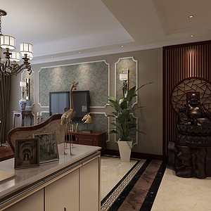王府壹号美式风格客厅装修效果图