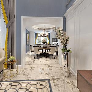 天泓山庄300平美式风格卧室装修图