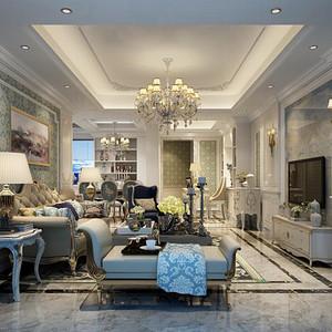 简欧风格 客厅装修效果图 三室两厅