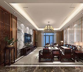 195㎡大平层新中式风格客厅效果图