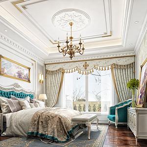 大连法式装修-卧室