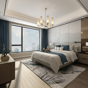 江南国际城138㎡新中式风卧室效果图
