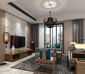 166㎡别墅新中式风格客厅效果图