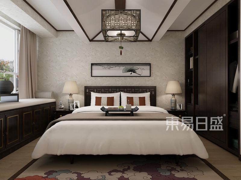 行政学院新中式风格卧室装修案例效果图