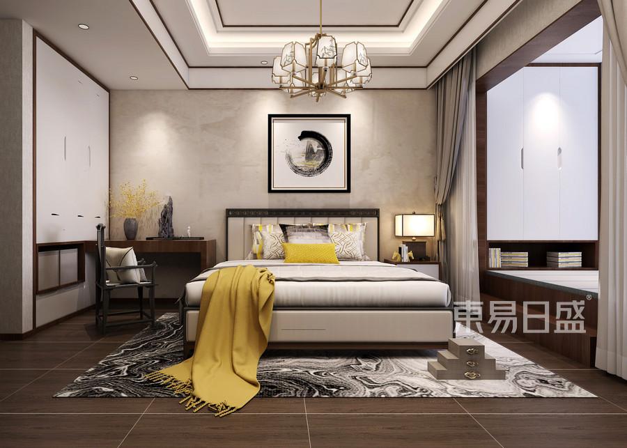 160平米东山帝景跃层中式风格卧室装修效果图