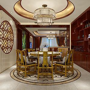大朗碧桂园五房中式古典餐厅装修效果图