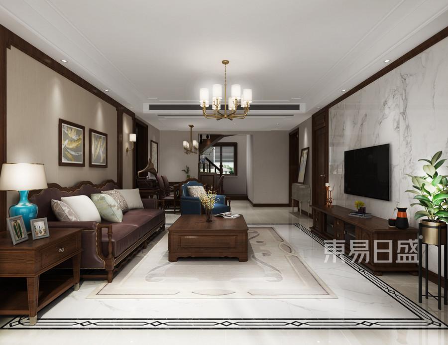 272平米天鹅湖美式风格一层客厅装修效果图