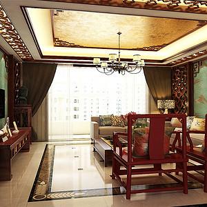 颐贤里中式风格客厅装修效果图