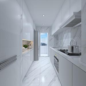 白大理石瓷砖、柜体,台面弥补采光问题
