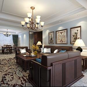 碧桂园220平米美式风格客厅装修案例