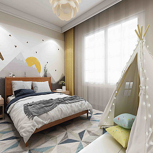 中海广场日式简约风格儿童房装修效果图