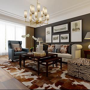 保利花园126㎡三室两厅美式简约风格案例