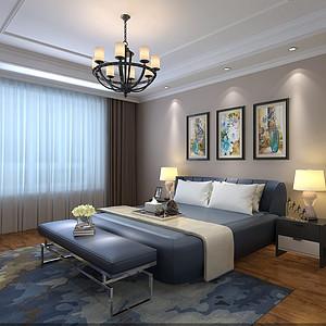 碧桂园220平米美式风格主卧装修案例