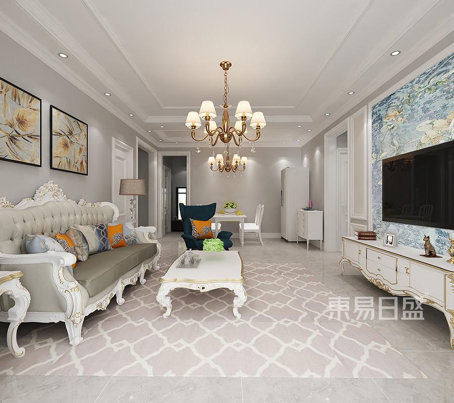 三居室客厅-简欧风格-装修效果图效果图_2018装修案例