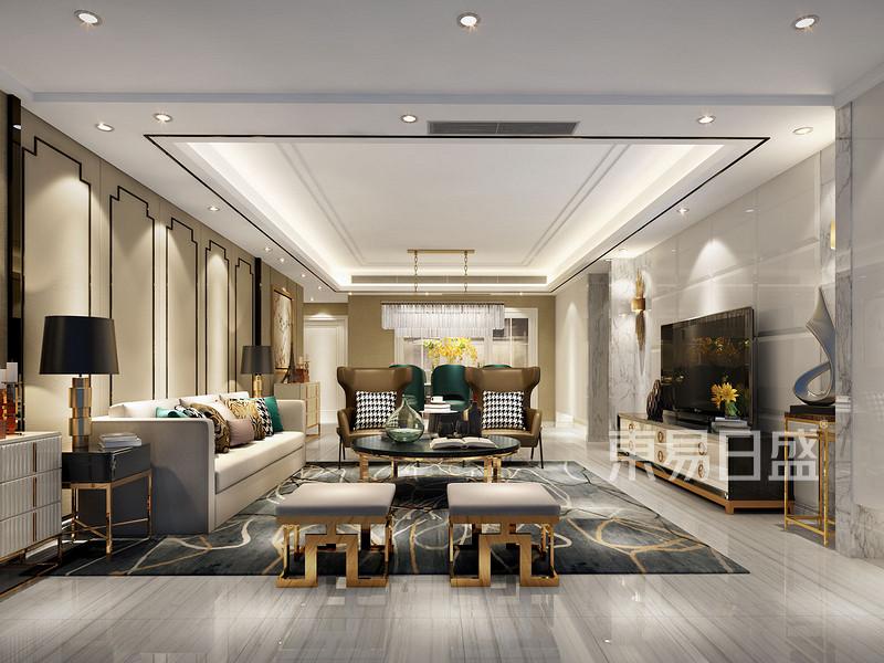沙发背景墙处的屏风直入客厅顶部,浅色的背景色搭配中式风格画设计