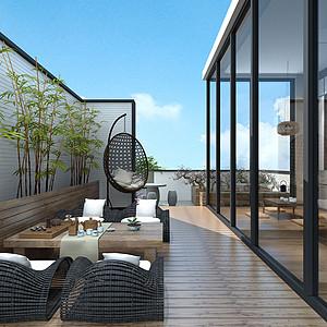 166㎡别墅新中式风格阳台效果图