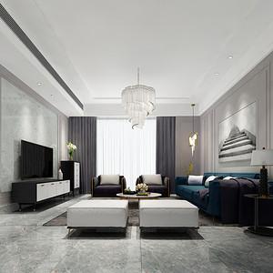 港铁天颂 现代简约装修效果图 100平米 三室两厅装饰设计
