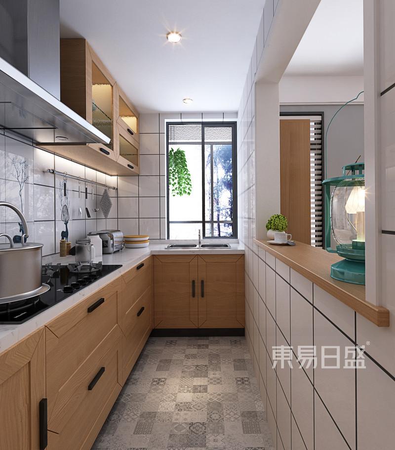半开放式厨房与客厅之间一个窗口的连接