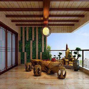 大朗碧桂园五房中式古典花园装修效果图
