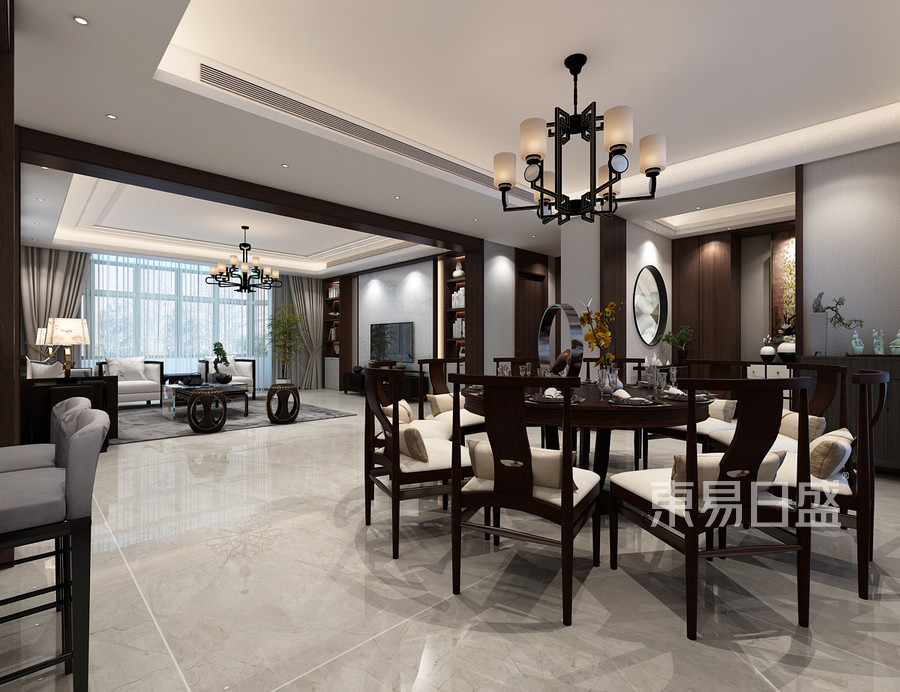 250平九号别墅平层新中式风格餐厅装修效果图