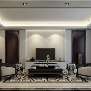 新合作广场-三室两厅-新中式风格装修案例