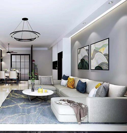 恒福新城120㎡三室两厅现代风格装修效果图