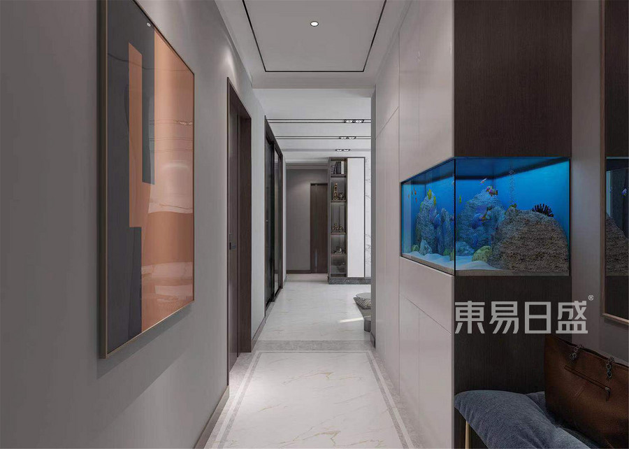 100平半湾半岛三居室现代风格门厅区装修效果图