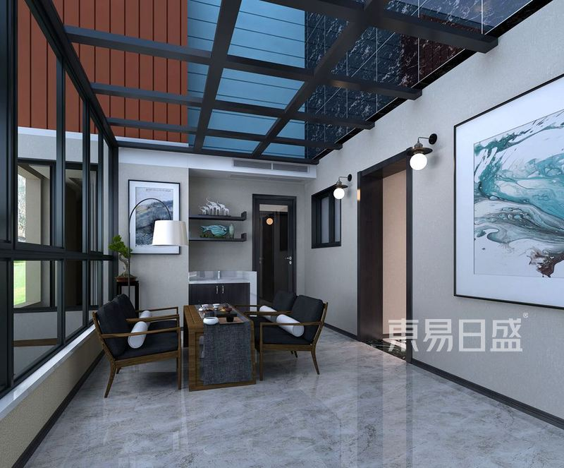 九台别墅现代中式装修效果图_新中式效果图大全2018