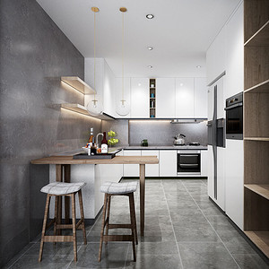厨房左岸系列橱柜,搭配木色,简洁