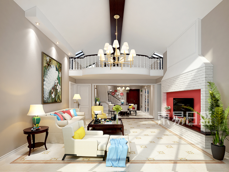 现代美式客厅装修效果图