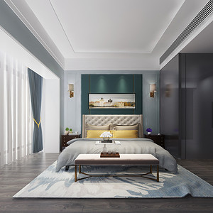 现代简约 主卧室装修效果图 三室两厅