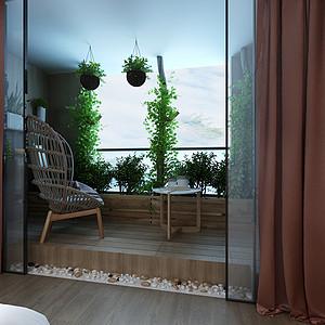 现代轻奢风格主卧阳台