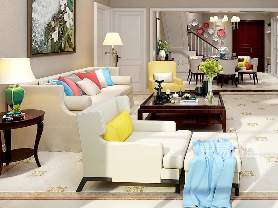 现代美式客厅家具摆放效果图