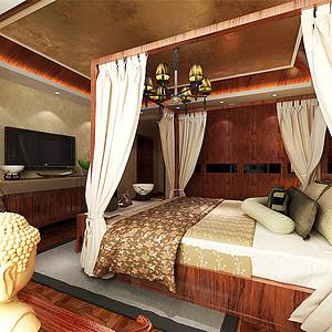 颐贤里中式风格卧室装修效果图