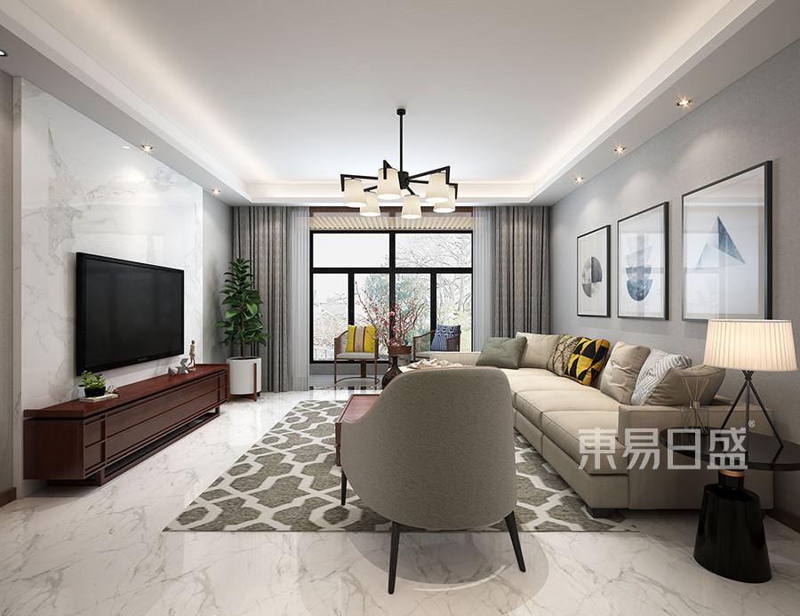在客厅区域采用装饰,形解来简单的分割