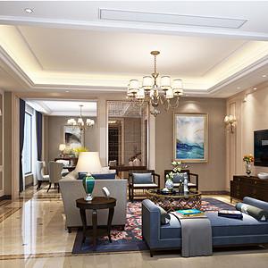 西溪明珠美式混搭风格客厅