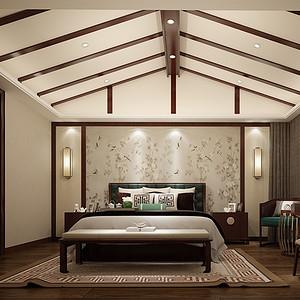 新中式装修效果图 卧室装饰设计