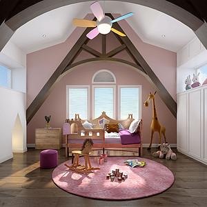 237㎡别墅现代美式风格儿童房效果图