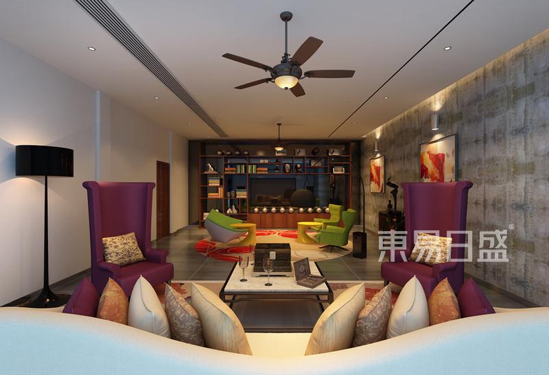 华侨城别墅 现代简约 客厅效果图效果图 装修效果图大全2018图片