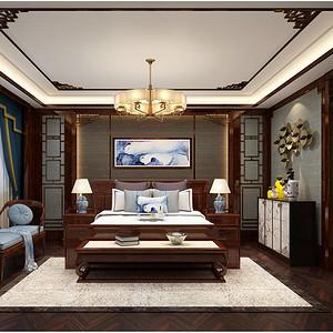 新中式卧室效果图