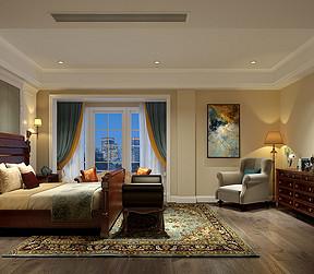 237㎡别墅现代美式风格主卧效果图