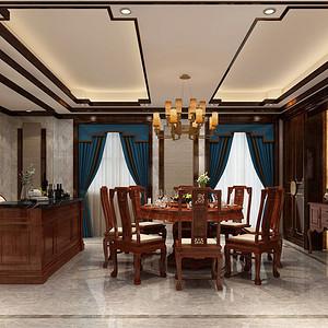 新中式餐厅效果图